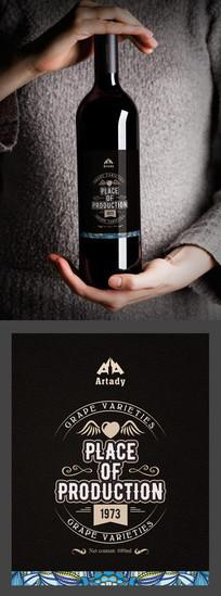 欧式花纹文艺红酒标签