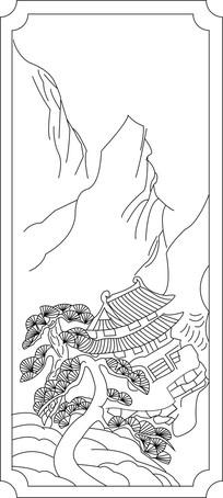 山峰松树亭子雕刻图案
