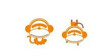 时尚2个动态戴耳机墨镜猴子插画