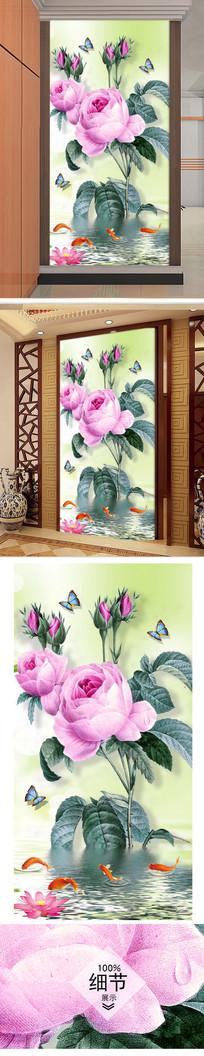 手绘玫瑰花客厅玄关图片