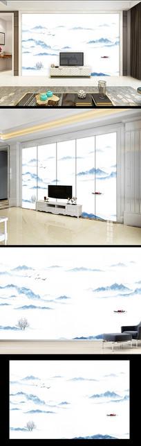 水墨山水电视客厅背景墙