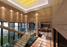温泉酒店楼梯间大堂效果图 JPG