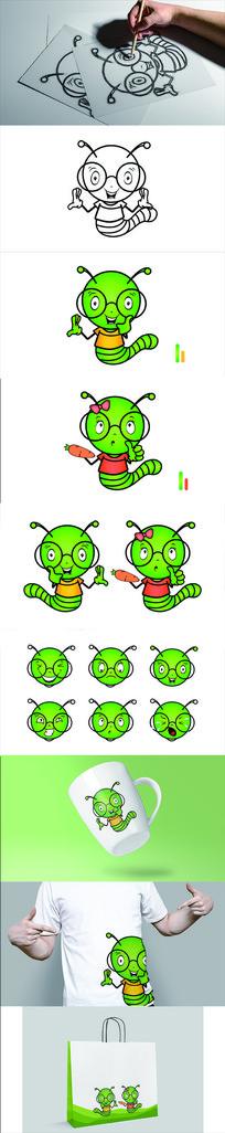 小青虫形象吉祥物设计