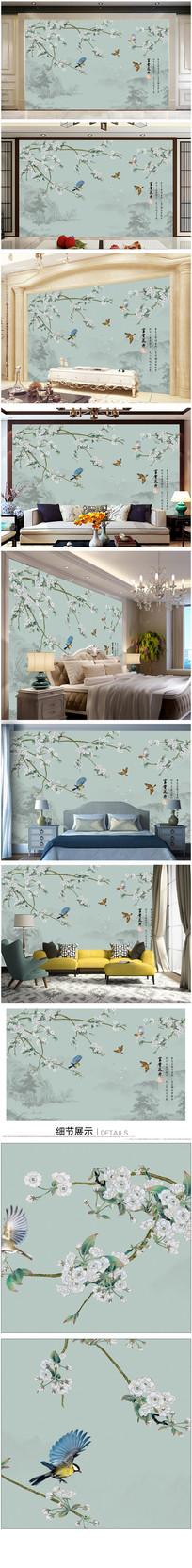 中式山水花卉背景墙