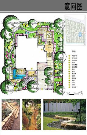 原创设计稿 方案意向 景观彩平 别墅庭院种植池水景图片
