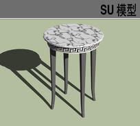 白色花纹面椅凳SU模型