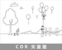 草地上的气球卡通线描插画 CDR