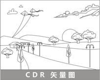 草原上的房子与风筝线描插画