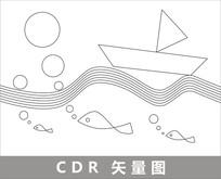 抽象海上小船线描插画