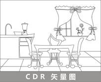 厨房餐厅线描插画