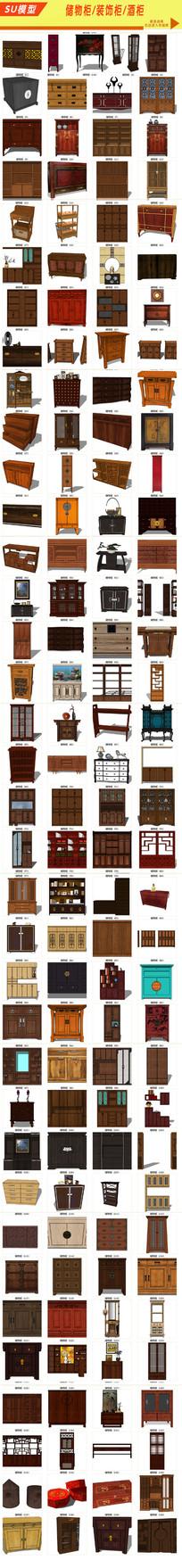 储物柜 装饰柜 酒柜模型模