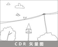 电线上的小鸟线描插画 CDR