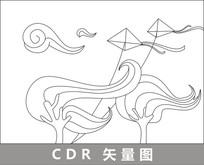 风与风筝线描插画