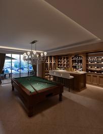 复古带酒座台球室模型