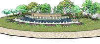 公园标志喷水景墙