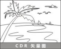 海边椰树线描插画