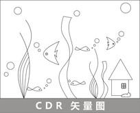 海底世界线描插画