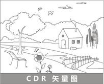 河边小屋线描插画 CDR