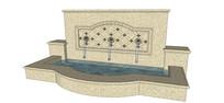 花岗岩贴面欧式水景墙模型 skp