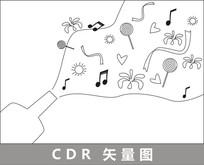 欢乐时刻抽象线描插画 CDR