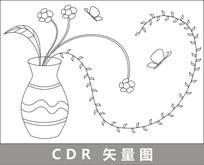 花瓶中的花朵线描插画