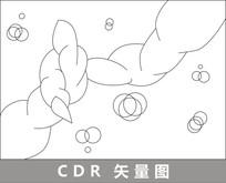 纠结抽象线描插画 CDR