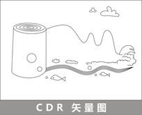 卷纸山水线描插画 CDR