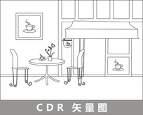 咖啡厅门口线描插画 CDR