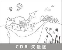 卡通村庄线描插画 CDR