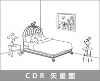 卡通闺房线描插画 CDR