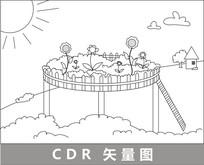 空中花园线描插画