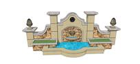 块石装饰水景墙模型
