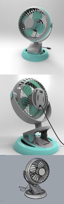 蓝色小型电风扇犀牛3D模型