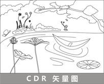 莲花湖中的小舟线描插画