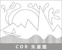 烈日下的海上小船线描插画