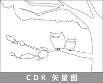 林中的猫头鹰线描插画