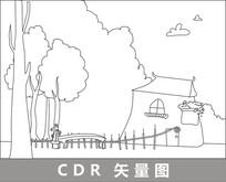 林中小屋卡通线描插画 CDR
