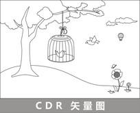 笼中的小鸟线描插画 CDR