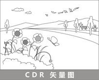 路边的房子与花朵线描插画 CDR