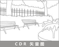 路边的椅子线描插画 CDR
