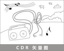 录音机线描插画 CDR