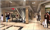 旅游购物商厦电梯口效果图 JPG