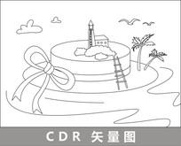 帽子小岛卡通线描插画