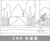 门前的山林树木线描插画 CDR