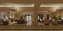欧式家庭台球室带客厅模型