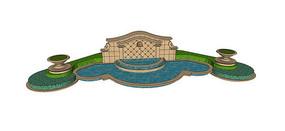 欧式入口水景墙模型