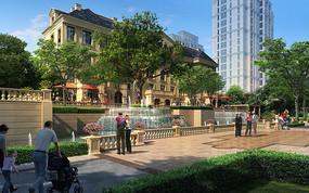 欧式商业街景观效果图