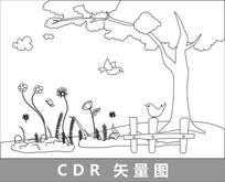 树下的花朵与小鸟线描插画 CDR