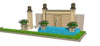 现代欧式喷水跌水景墙 skp