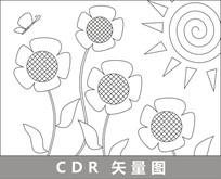 向日葵与太阳媲美线描插画